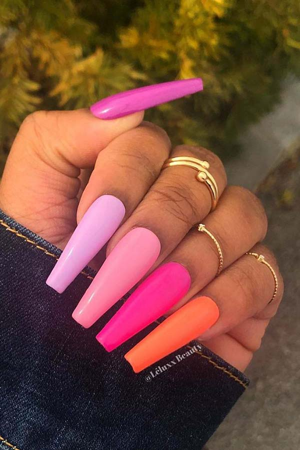 Pink and Orange Nail Idea