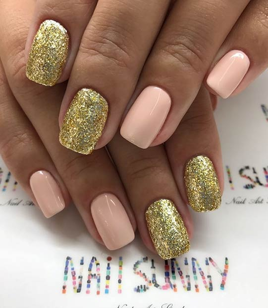 Pretty Gold Glitter and Nude Nails