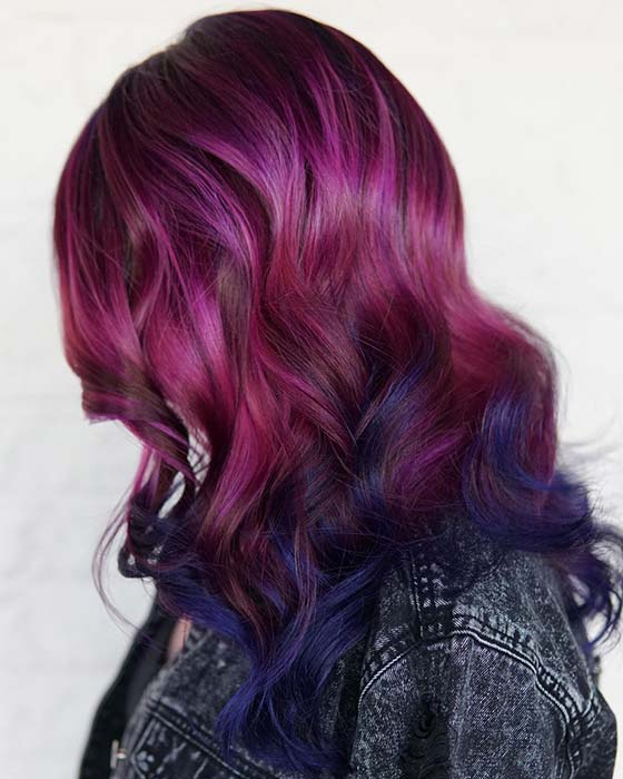 Purple, Burgundy to Blue Hair Color Idea