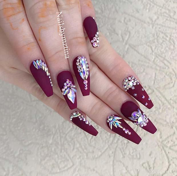 Matte Burgundy Nails with Rhinestones