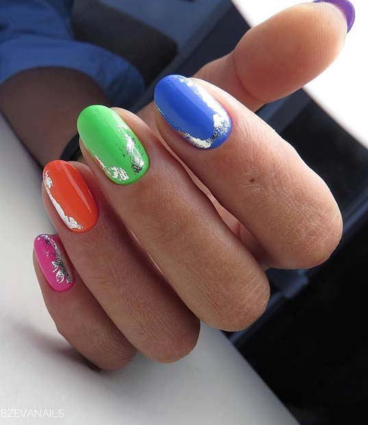 Rainbow Nails with a Trendy Silver Design