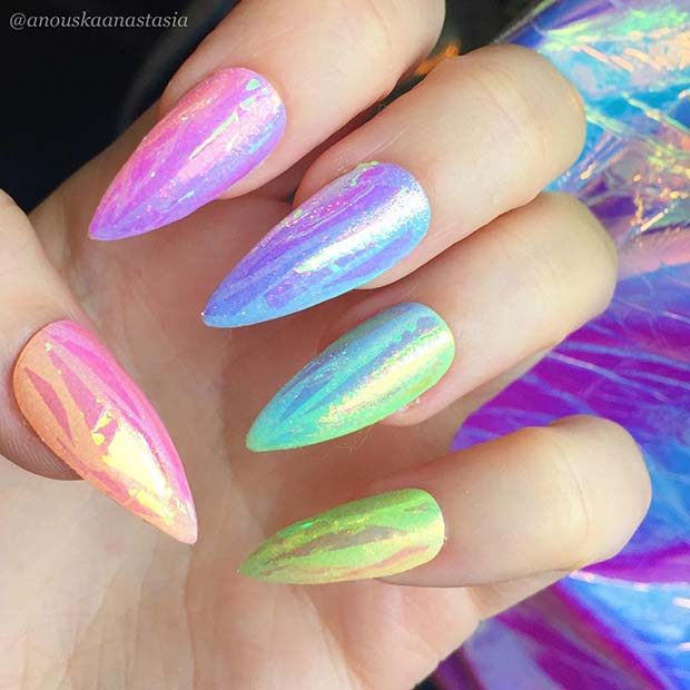 Rainbow Shattered Glass Nail Design