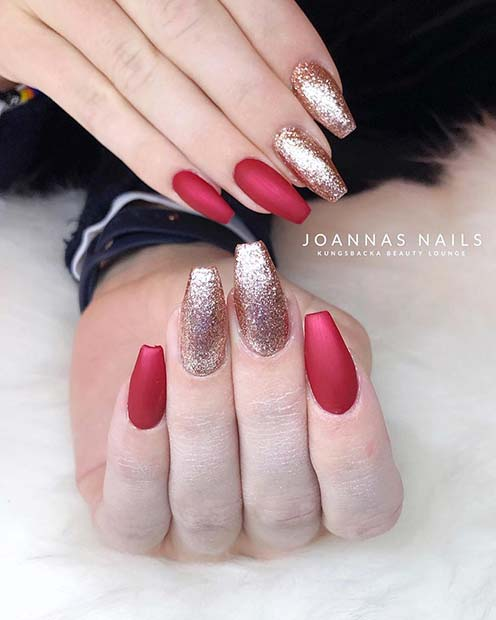 Red Matte and Gold Glitter Nails