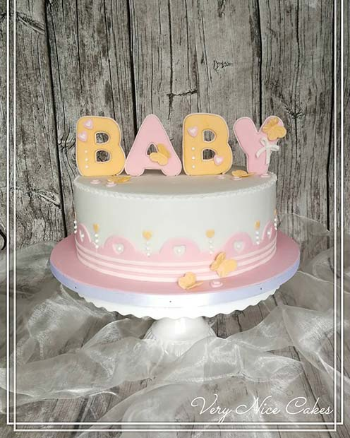 Simple Cake with Bright Baby Cake Topper