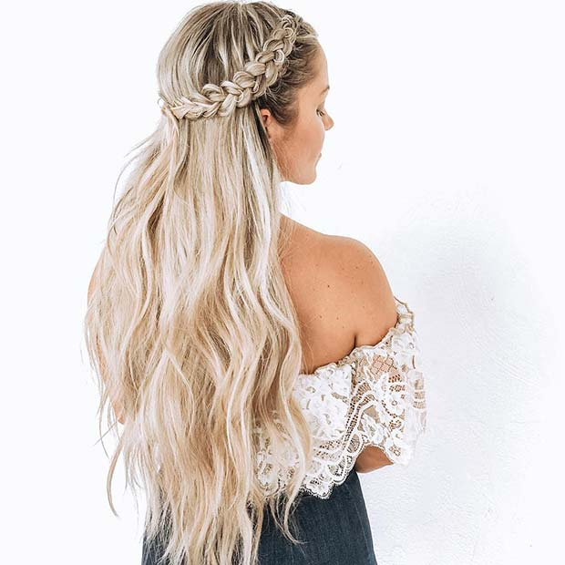 21 Pretty Half Up, Half Down Braid Hairstyles to DIY ...