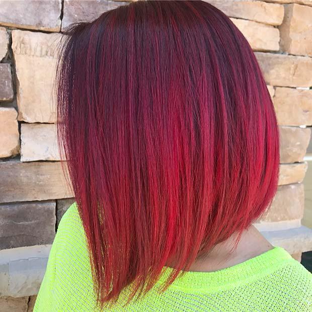 Sleek Red Bob Hairstyle Idea