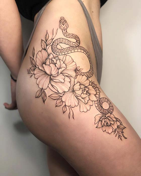 Snake and Peony Thigh Tattoo Idea