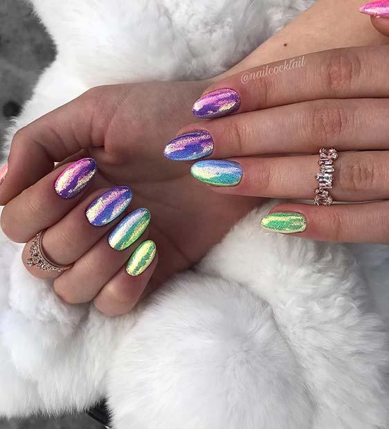 Sparkly Chrome Rainbow Nails