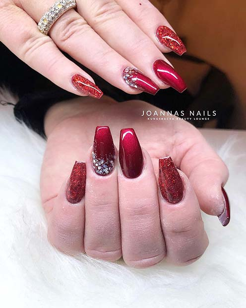 Sparkly Red Acrylic Nails