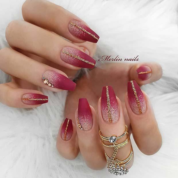 Stunning, Sparkly Matte Coffin Nails