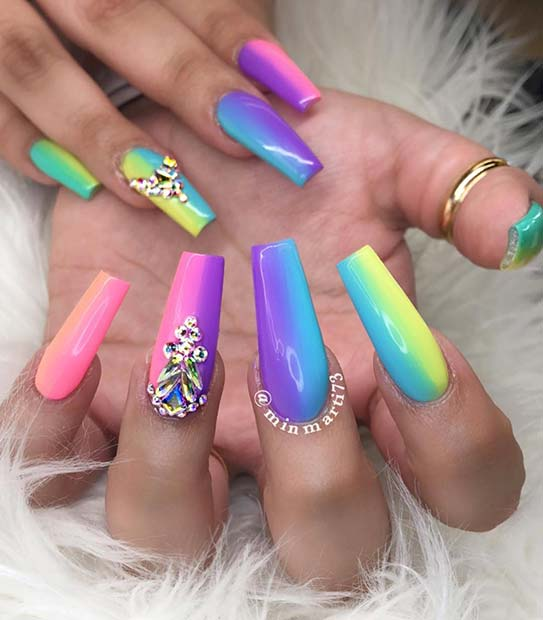 Statement Rainbow Nails with Rhinestones