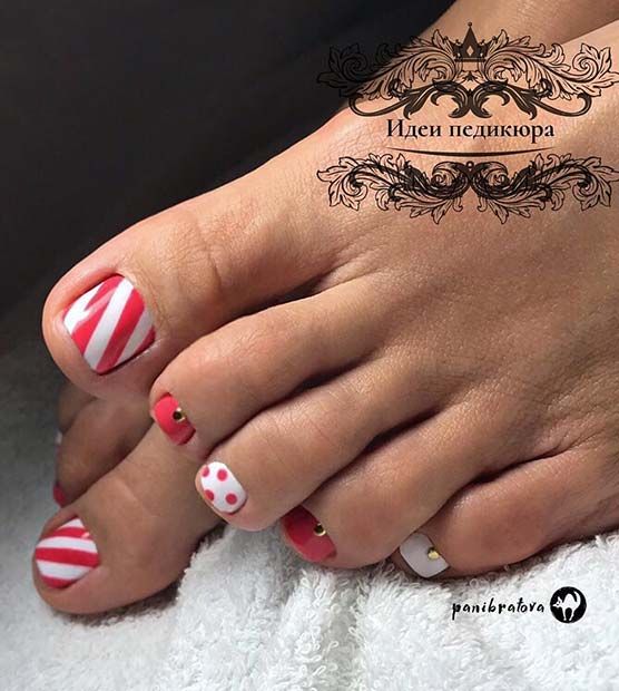 Stripes and Polka Dots Pedicure