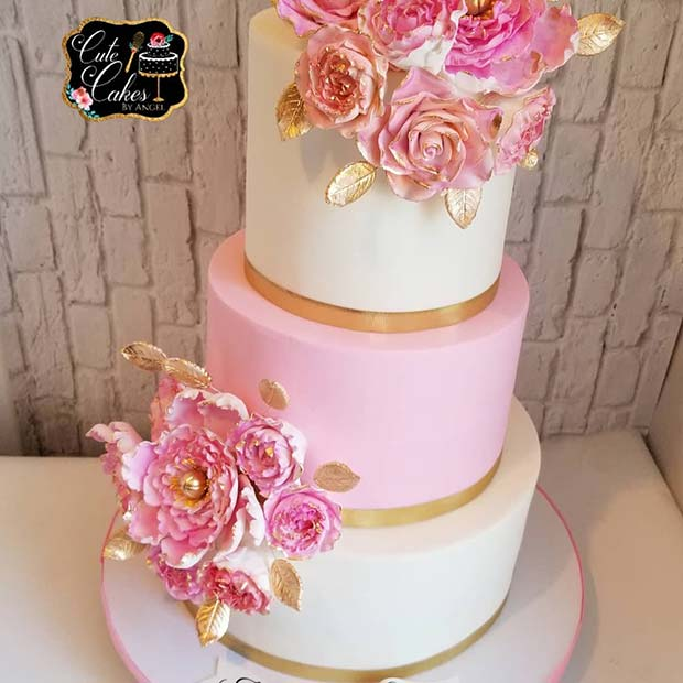 Stunning Pink and White Cake with Flowers