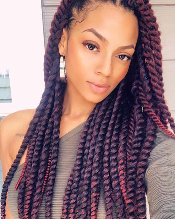 Stylish Burgundy Havana Twists