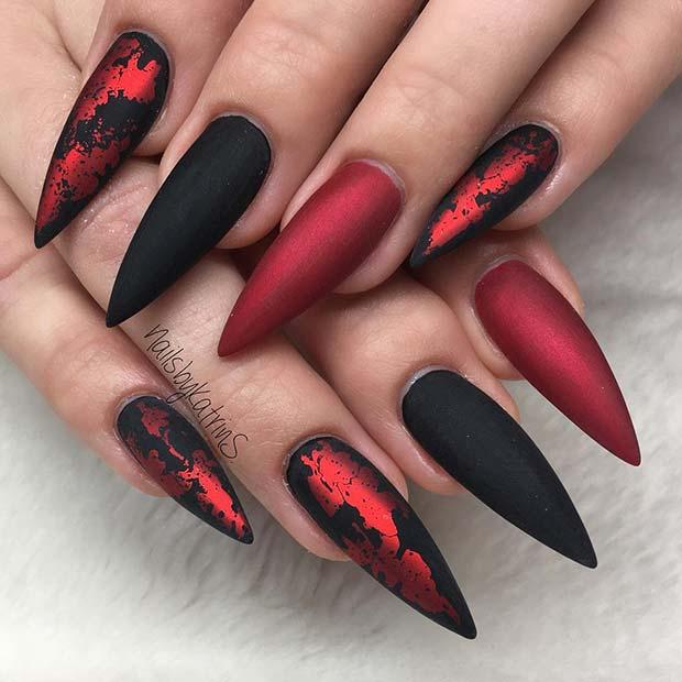 Stylish Matte Black and Red Stiletto Nails