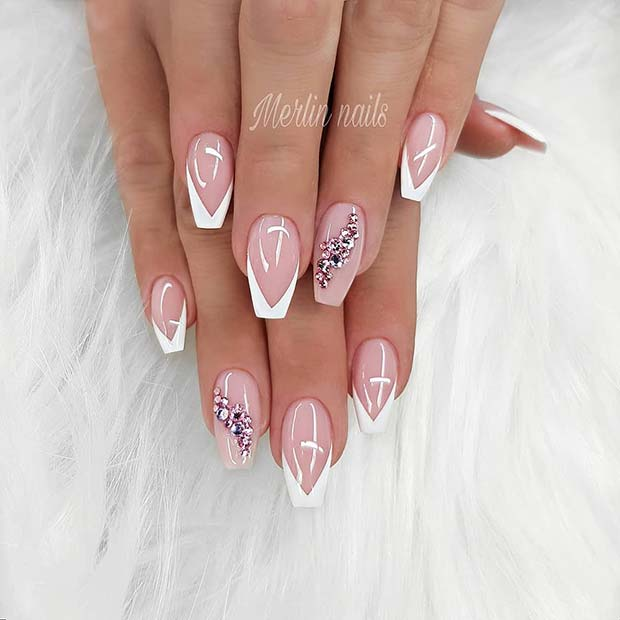 Elegant Nails with White Tips and Crystals