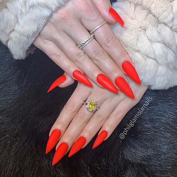 Matte Red Stiletto Nails
