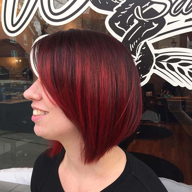 Dark to Bright Red Bob Hairstyle