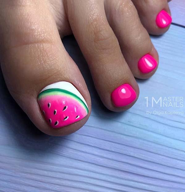 Summery Watermelon Toe Nails