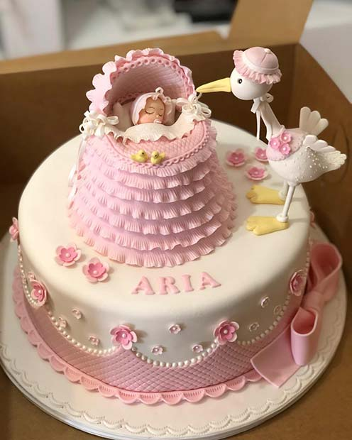 Super Cute Baby Shower Cake with a Baby and Stork