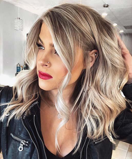 Trendy Blonde Lob Hairstyle