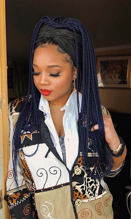 Trendy, Dark Blue Braids