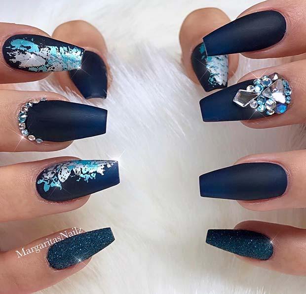 Trendy, Matte Blue Coffin Nails