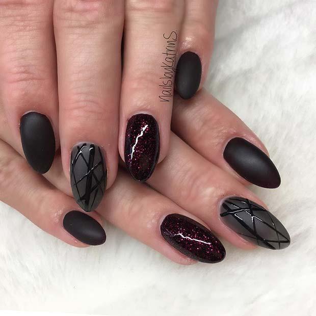 Trendy Matte Black Nails with Dark Red Glitter