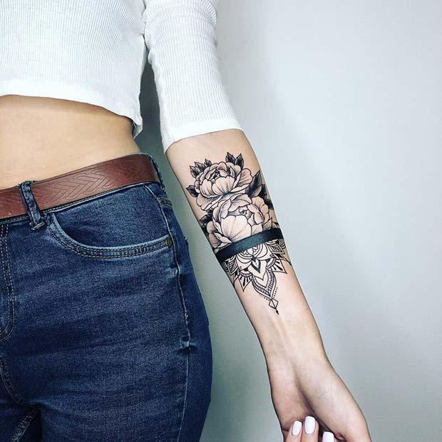 Trendy Peony Wrist Tattoo