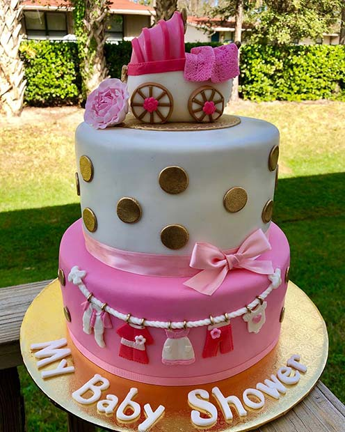 Two Tier Cake with Sweet Decorations