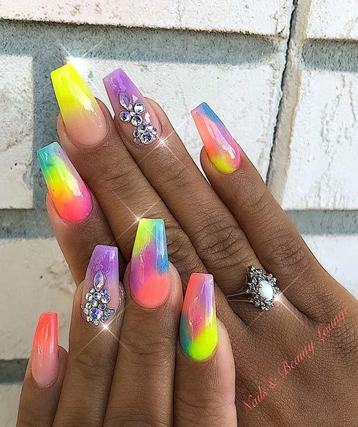 Unique Rainbow Nail Design
