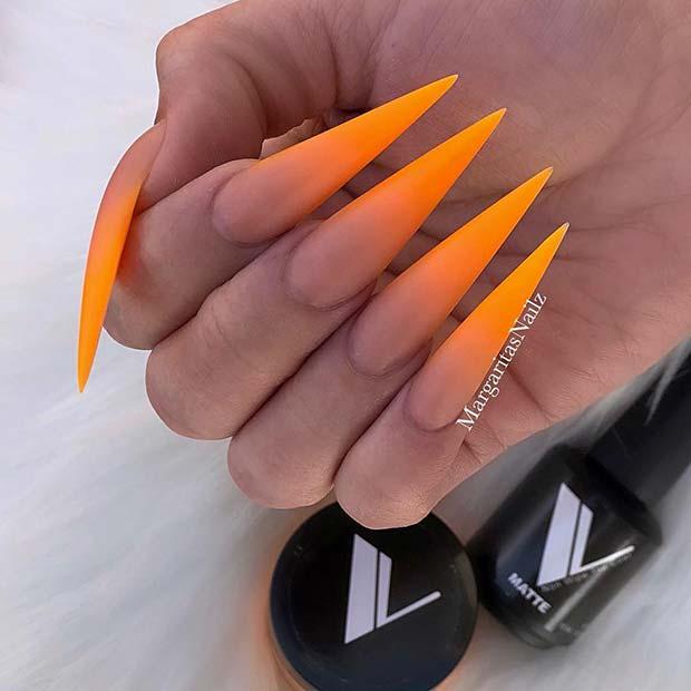 Neon Orange Ombre Nails