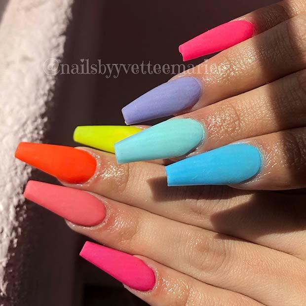 Vibrant Matte Rainbow Nails