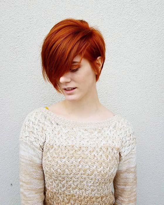 Vibrant Red Pixie Haircut Idea