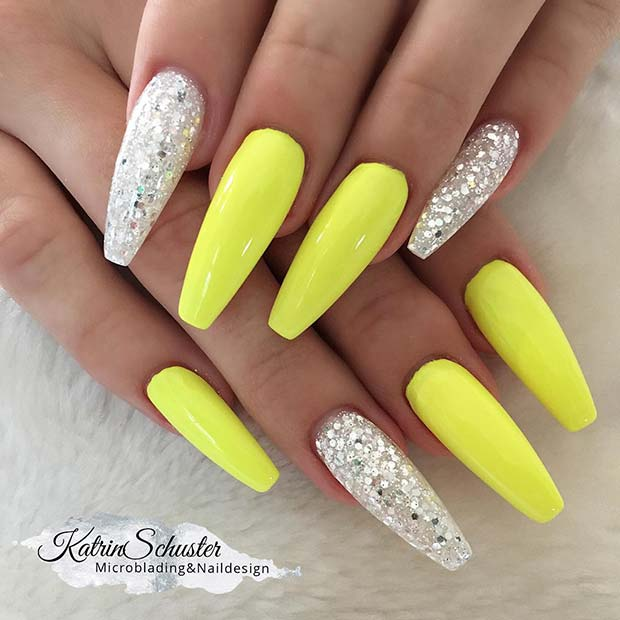 Neon Yellow and Glitter Coffin Nails