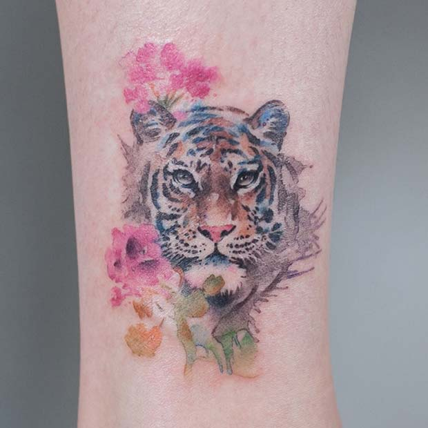 Watercolor Tiger Tattoo Idea