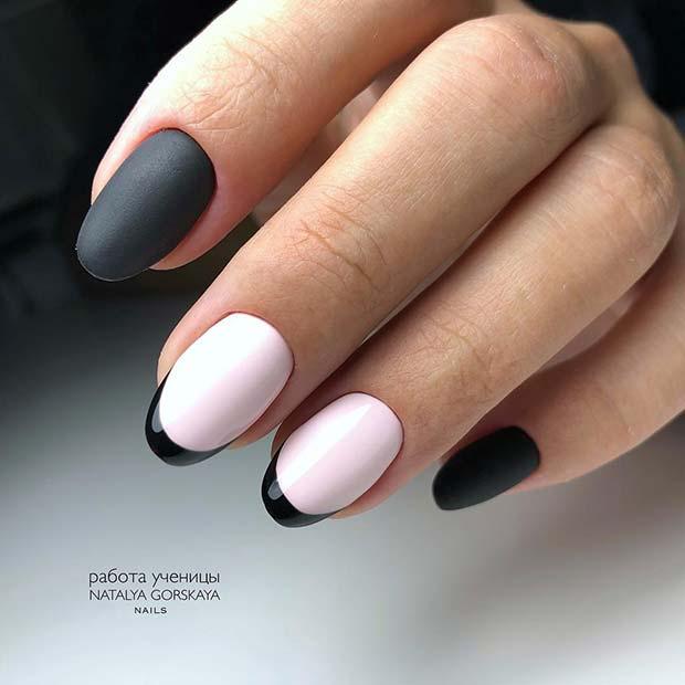 White and Black Nail Idea