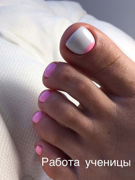 Simple White and Pink Nails