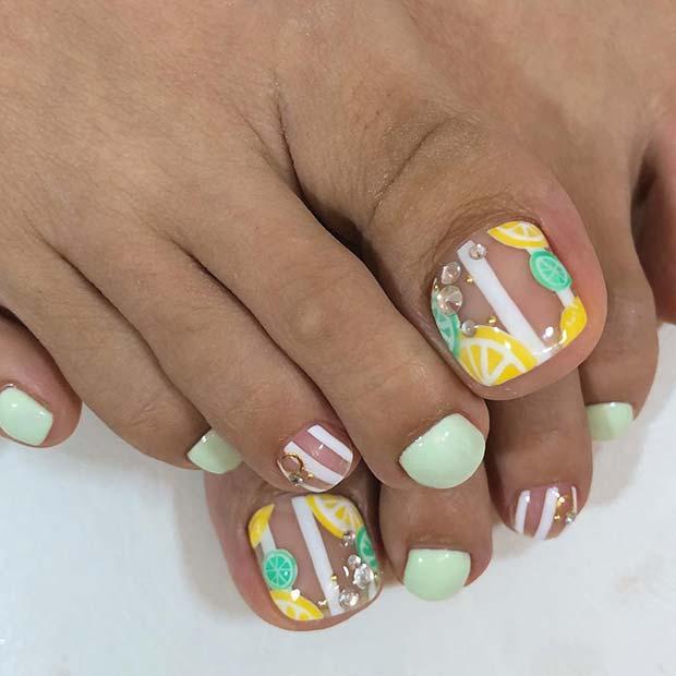 Zesty Lemon Toe Nails