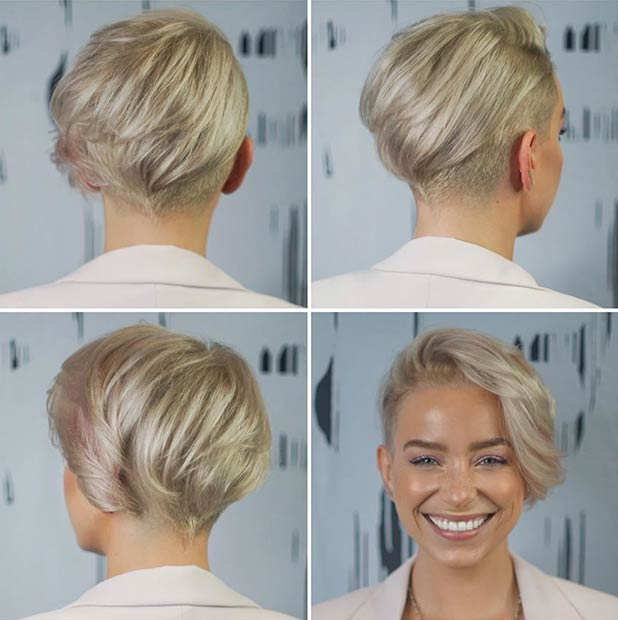 Asymmetrical Short Blonde Cut