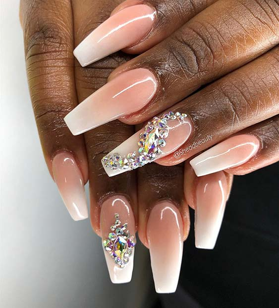 Baby Boomer Nails with Crystal Accent Nails