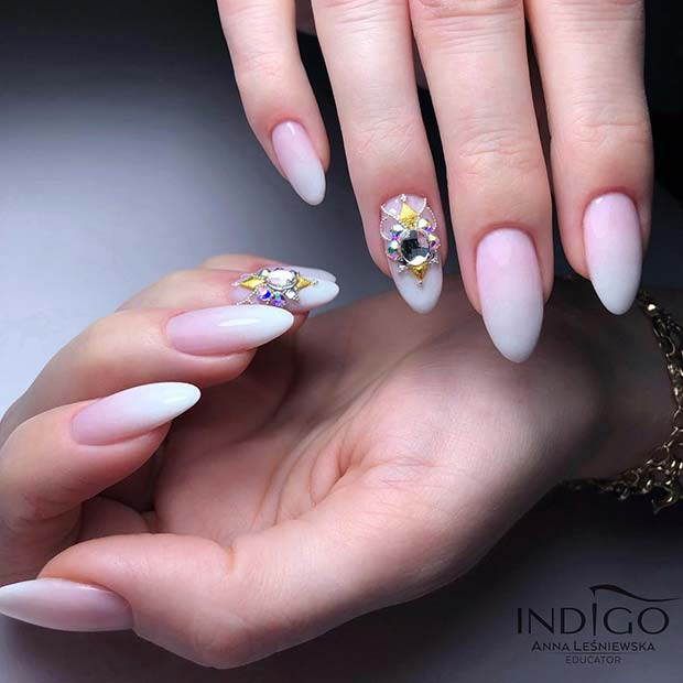 Baby Boomer Nails with Glam Accent Nail