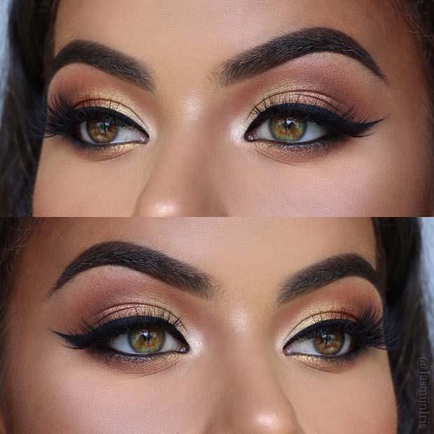Beautiful Bronze Eyes with Black Eyeliner