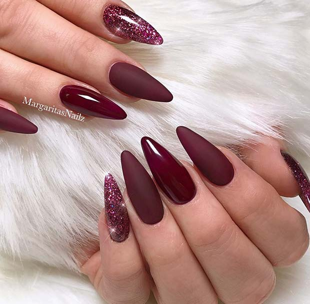 Beautiful Burgundy Nails
