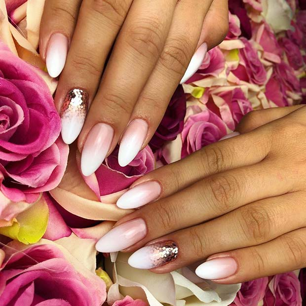 Baby Boomer Nails with Gold Accent Design