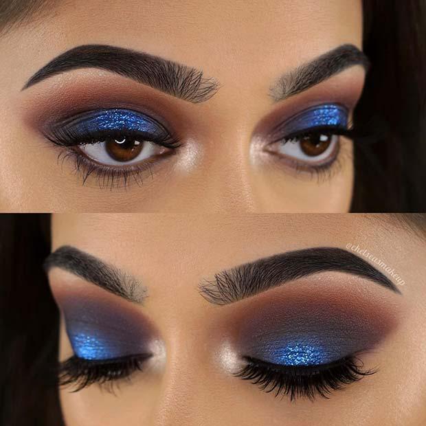Bold Blue Eye Makeup Idea for Brown Eyes