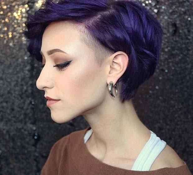 Bold Purple Hair Idea with an Undercut