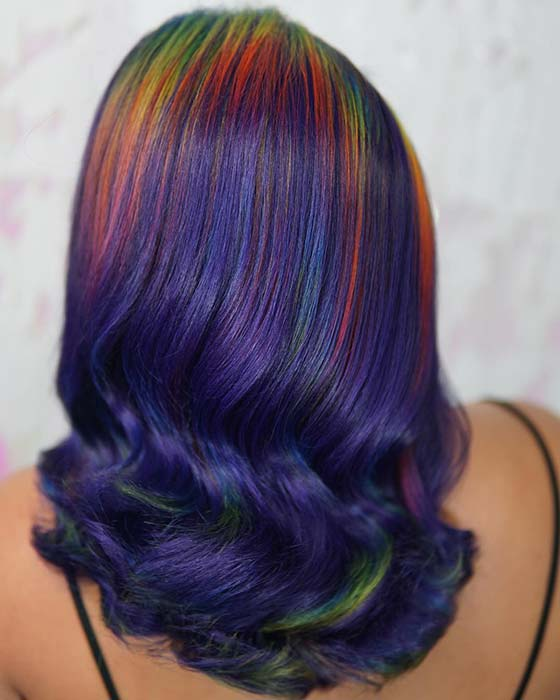 Bold Purple Hair with Rainbow Roots