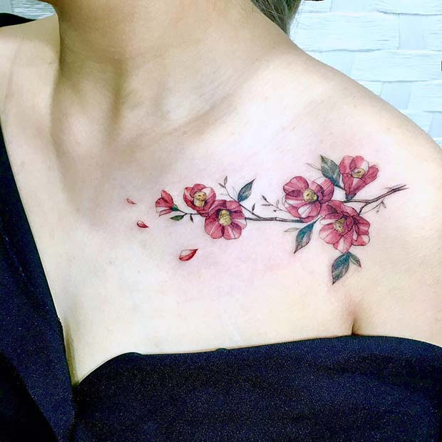 Bright Red Flower Tattoo
