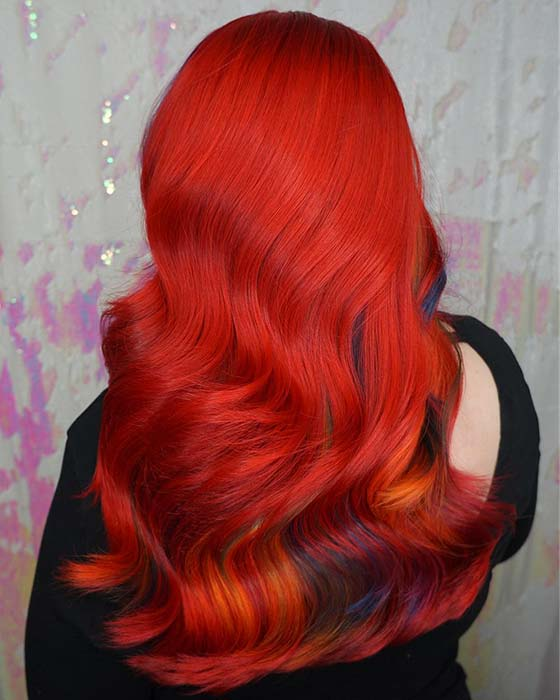 Bright Red Hair with Rainbow Underlights